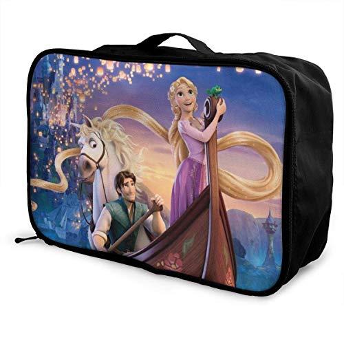 Bolsa de viaje Tangled Rapunzel Travel Lage para mujer, hombre y niños, impermeable, grande, bolso de mano