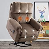 CANMOV Power Lift Recliner Chair with Heat & Massage for Elderly, Heavy Duty Reclining Chair with Storage Bag, Lift Chair with Contemporary Overstuffed Arms and Back, Light Brown