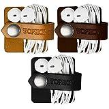 TOPHOME Cord Organizer Earbud Holders Earbud Case Earphone Earbud Headphone Organizer Cord Winder Earphone Wrap Winder Leather Headset Organizer (Black&Coffee&Orange,Set of 3)