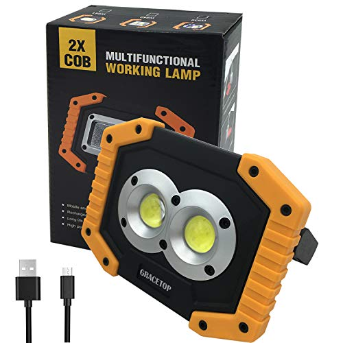 LED Work Light Rechargeable with USB Port, 2X COB Light 20W 1000 Lumen Portable Lighting with Stand,Built-in 6400mAh Lithium Batteries,Led Work Lamp for BBQ, Camping, Fishing Light