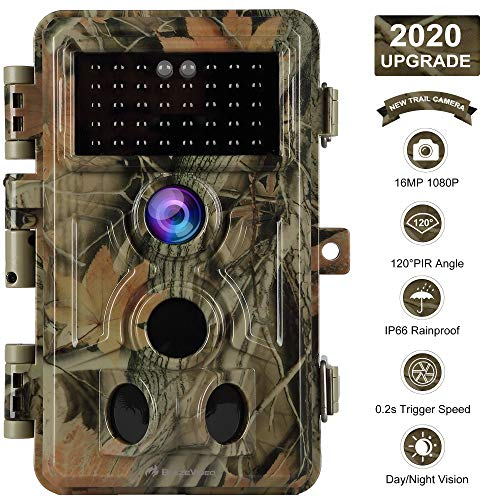"""[2020 Upgrade] Trail Camera 16MP 1080P Game Camera with No Glow 65ft Night Vision 0.2s Trigger Time Motion Activated 2.4"""" LCD Easy Operate Keypad Waterproof Wildlife Hunting Cam Photo and Video Model"""