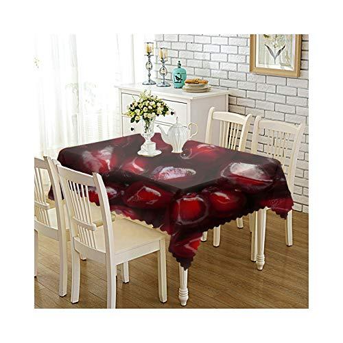 Amody Manteles Poliester de Mesa Comedor 140x220CM Granada Manteles Antideslizantes Impermeables Rojo Oscuro Mantel Mesa de Centro Estilo 3