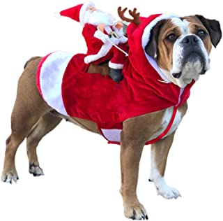 Cuteboom Dog Christmas Costume Santa Claus Riding Reindeer Clothes Pet for Small to Large Dogs