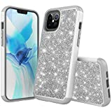 iBarbe Compatible with iPhone 12 Pro Max 6.7 Inch (2020) Case, Glitter Sparkly Bling Shockproof Cute Heavy Duty Hybrid Sturdy Defend High Impact Shockproof Protective Cover for Women Girls,Silver
