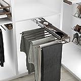 Casaenorden - percha extraíble para pantalones con bandeja para accesorios - pantalonero para armario vestidor, acero café