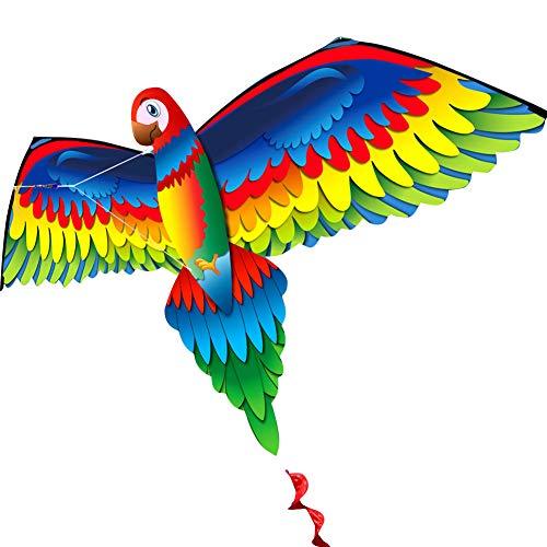 KEISL Klassischer Papagei-Feuerdrachen, bunt, 3D-Dinosaurier-Drachen, 78 x 140 cm langer Schwanz, Spielzeug, 100 m Einleine mit Schwanz, Outdoor-Aktivitäten für Erwachsene und Kinder