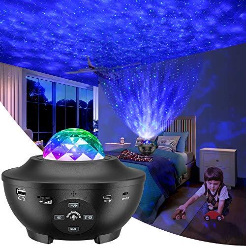 Proyector de Luz Estelar, LED de Luz Nocturna Giratorio, Lámpara de Nocturna Estrellas, 10 Modos Proyector LED Color Reproductor de Música, con Bluetooth/Temporizador/Remoto