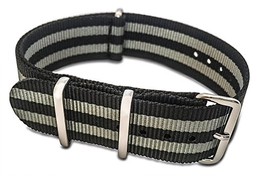 BluShark The Original Premium Nylon Watch Strap 22mm James Bond (Black/Gray)