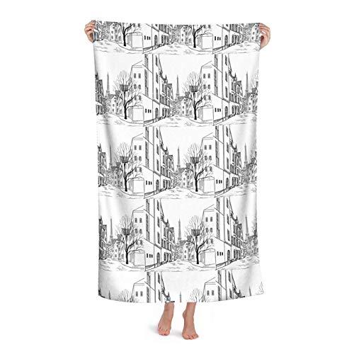 Paris Street con casas edificios y árbol en el callejón Eiffel secado rápido,Toallas de playa Toallas de baño de microfibra de gran tamaño, toallas grandes para adultos