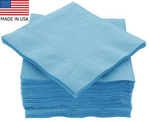 """Amcrate Big Party Pack 125 Count Caribbean Blue Beverage Napkins - Ideal for Wedding, Party, Birthday, Dinner, Lunch, Cocktails. (5"""" x 5"""")"""