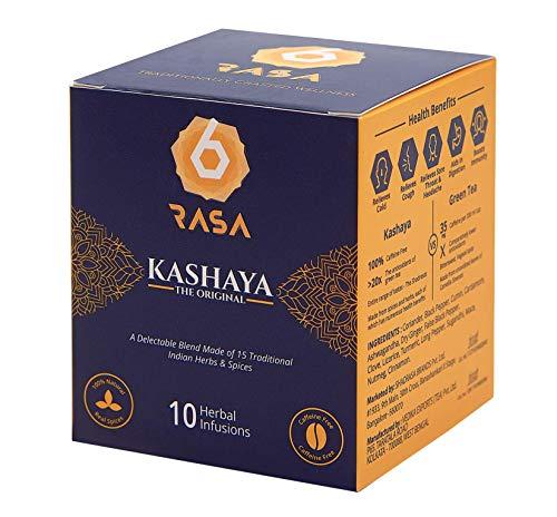 6rasa Kashaya – Herbal Tea   15 Ayurvedic Spices Like Ashwagandha, Black Pepper, Cardamom, Turmeric   Kadha Mix   Caffeine Free   100% Natural   No Added Sugar (2.5 g Each, 10 Dip Bags)