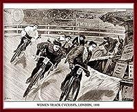 ポスター アーティスト不明 Women Track Cyclists 1898 額装品 ウッドベーシックフレーム(レッド)