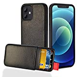 LAMEEKU Wallet Case Compatible with iPhone 12 Pro and 12, Magnetic Detachable Cards Slots Case Work with Wireless Charger, Protective Shock-Proof Cover Design for iPhone 12 Pro and 12 6.1''2020-Black