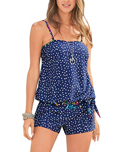 Wenly zeng Womens Printed Two Piece Swimsuits Tankini Tops Boyshort Bottom(XL,Blue Dot)