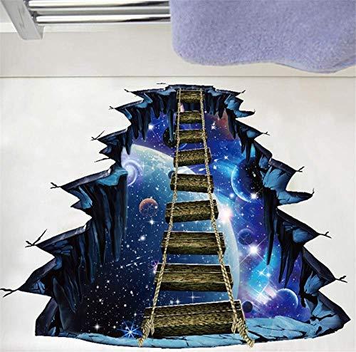 3D Cosmic Space Galaxy Kinder Wandaufkleber Holzbrücke Für Kinderzimmer Kinderzimmer Baby Schlafzimmer Home Decoration Decals Bodenbild 70 * 90Cm