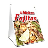 A-Frame Sidewalk Chicken Fajitas Sign with Graphics On Each Side | 18' X 24' Print Size