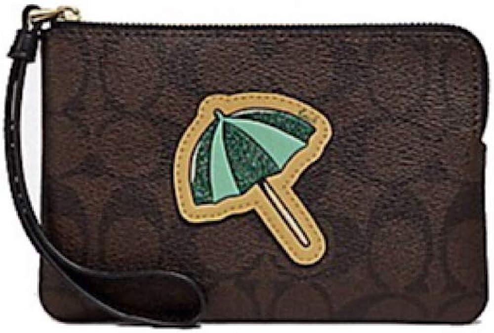 Coach Coated Canvas Signature Corner Zip Wristlet Umbrella Motif Brown Black Gold F73584