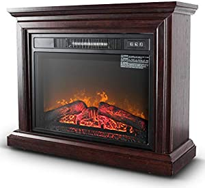 Belleze 3D Infrared Electric Fireplace Stove 31-inch with Remote Control (Brown) Portable Indoor Space Freestanding Heater – 1400W with Long Glass View