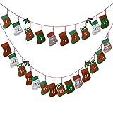 Kesote [Nueva Versión] Calendario de Adviento de Navidad Calcetín de Navidad 24 Bolsas de Fieltro para Fiesta Decoración Navideña