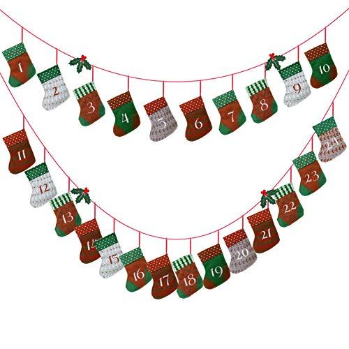 Kesote Adventskalender zum Befüllen 24 Aufhängen Weihnachtskalender Kette Filz Säckchen mit Kunstlich Stechpalme Kinder Weihnachten Deko Strumpf (15 x 10 cm)