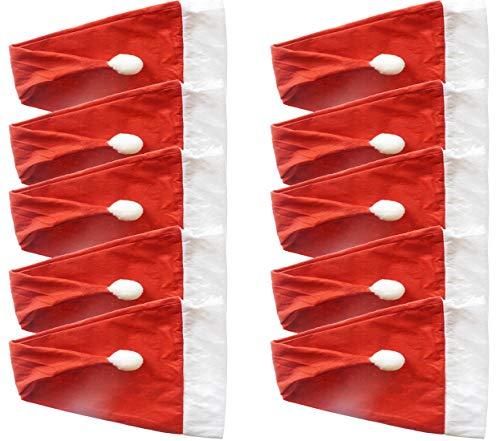 Partituki 10 Gorros Rojos de Papá Noel con Borla Gorros de Navidad de Santa Claus