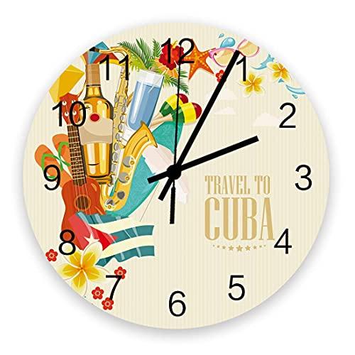 Dekorative runde Wanduhr Reisen Sie nach Kuba Gitarre mit Blumen Seestern und Flip Flops auf Vintage Hintergrund Wanduhr mit arabischen Ziffern , Qualität Quarz Batteriebetriebene Wanduhren 10 Zoll