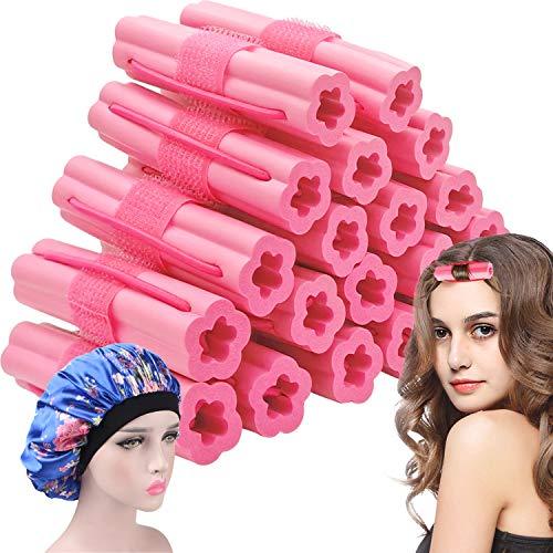 20 Pcs Hair Rollers No Heat Sleeping Hair Curlers New Foam Sponge Hair Rollers with Sleep Cap Heatless Pillow Hair Rollers for Long Short Hair Flexible Soft Overnight Hair Curlers for Women Girls