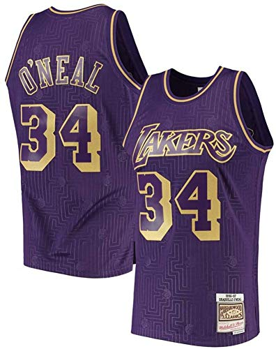 BXWA-Sports Lakers NBA Jersey # 34 Shaquille O'Neal Retro Camisetas de Baloncesto sin Mangas cómodo de Malla Bordado Fresco y Transpirable de Tela Unisex,XL
