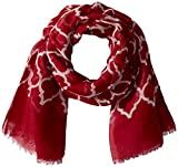 Tickled Pink Women's Vibrant Royal Lightweight Oblong Scarf, Crimson & White, One Size