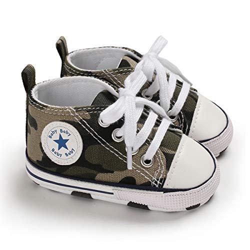DEBAIJIA Lauflernschuhe Baby Segeltuchschuhe 0-6M Kinder Turnschuhe Jungen Leichtes Leinen Schuhe Mädchen Weiche Sohle 17 EU Armee Grün (Etikettengröße 1)