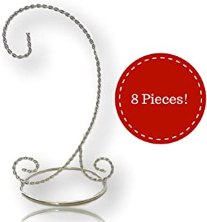 BANBERRY DESIGNS Silver Christmas Ornament Stand - 9-inch Ornament Holders - Chrome Stands - Set of 8