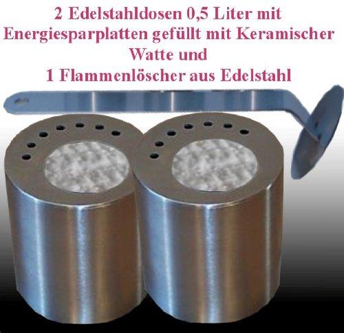 Cheminées Allemande 2 boîtes de carburant en acier inoxydable (0,5 litres) / approprié d'économie d'énergie des panneaux/céramique laine / 1 extincteur de flammes