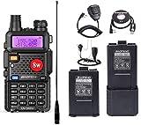 Ham Radio UV-5R 8Watt Dual Band Two Way Radio with More 3800mAh Battery and Tube Earpiece and Handheld MIC and NA-771 Antenna and USB Programming Cable
