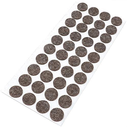 Adsamm® | 40 x Woll-Filzgleiter | Ø 18 mm | Braun | rund | 3 mm starke selbstklebende Möbelgleiter aus echtem Wollfilz