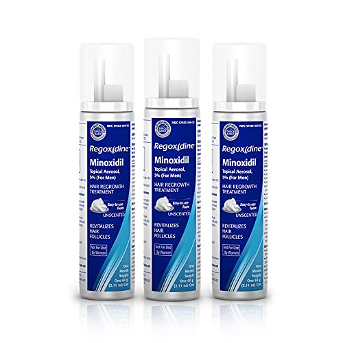 Regoxidine Men's 5% Minoxidil Foam Helps Restore Vertex Hair Loss and Supports Hair Regrowth with Unscented Topical Aerosol Treatment for Thinning Hair, 3-Month Supply