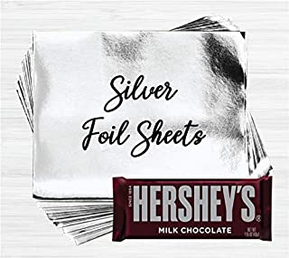 Silver Shiny Candy Bar Wrapper Foil Sheets for Over Wrapping Hershey's Chocolate Bars - 40 Sheets