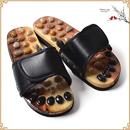 B/H Women Men Bath Slipper Anti-Slip,Acupuncture point health massage shoes, anti-skid slippers-black_UK6,Slip On Slippers Non-slip Shower Sandals