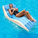 QPAU Pool Float, X-Large Ultra Comfort Inflatable Lounge Raft with Head Pillow, Heavy Duty Outdoor Swimming Pool Float for Adults and Kids