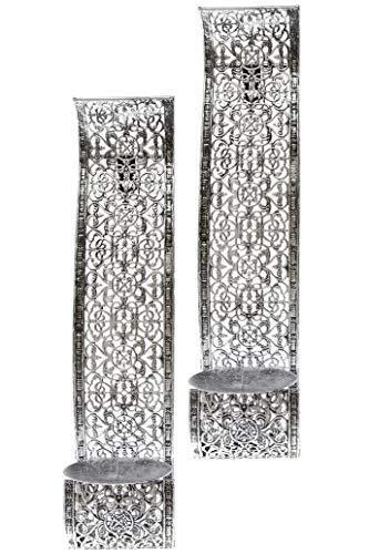 Elbmöbel - Portacandele da parete, set da 2 pezzi, in metallo, decorazioni
