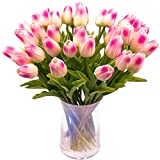 JOEJISN 30pcs Artificial Tulips Flowers Real Touch Pink Tulips Fake Holland PU Tulip Bouquet Latex Flowers for Wedding Party Office Home Kitchen Decoration (Dark Pink)
