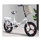 YSHCA 16 Pulgadas 6 velocidades Plegable Bicicleta, Marco de Acero al Carbono Bicicleta Plegable Street con Estante y Cesta Bicicleta Plegable Urbana,White-A