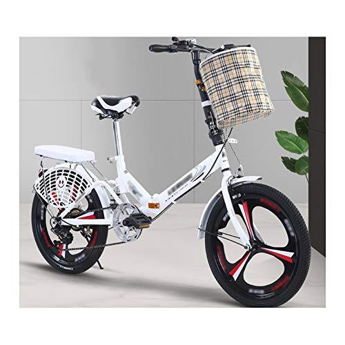 YSHCA Opvouwbare fiets, 16 inch, 6 versnellingen, koolstofstalen frame, fiets, vouwfiets met standaard bagagedrager en mand campingfiets, citybike
