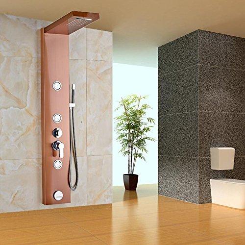 AllureFeng Luxus Edelstahl Konstruktion Duschpaneel mit Wasserfall Regen Kopf Wand montierten Körper Sprayer Jets Messing Handbrause
