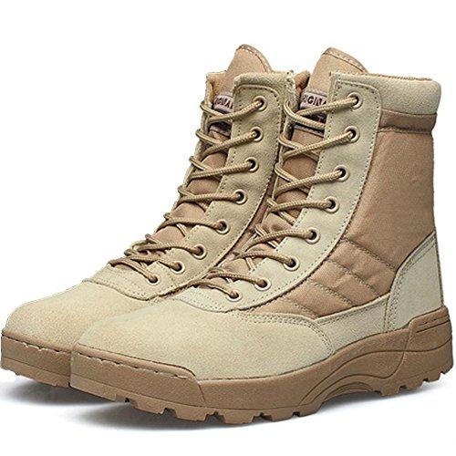 LiliChan SWAT Herren Taktische Lederstiefel mit Reißverschluss Hoch Oben Schuhe (39, bräunen)