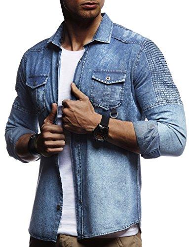 Leif Nelson Herren Biker Hemden Männer Overshirt Freizeithemden Denim Jeans Jacke Weste Destroyed Verwaschen Vintage Gesteppt Langarm Kurzarm LN3375; Größe XXL, Blau
