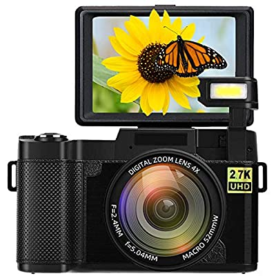 Digital Camera Vlogging Camera Full HD 2.7K 24MP 3.0 Inch 180 Degree Rotation Flip Up Screen Cameras for YouTube with Retractable Flash Light