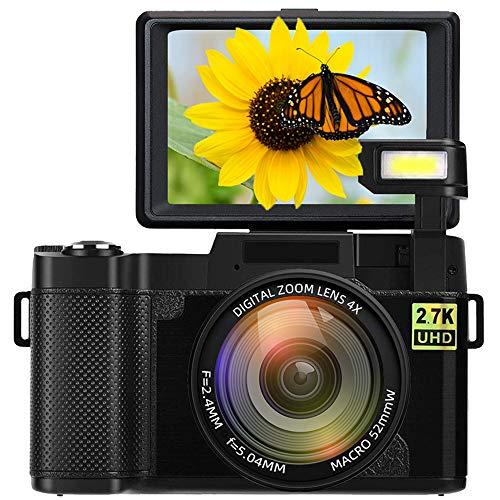 Digital Camera Vlogging Camera Full HD 2.7K 24MP 3.0 Inch 180 Degree Rotation Flip Up Screen Cameras for YouTube with Retractable Flash Light