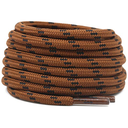 DELELE 2 Pair Non-slip Outdoor Mountaineering Hiking Walking Shoelaces Round Red Brown Black String Rope Boot Laces Strong Durable Bootlaces-55.12'