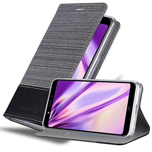 Cadorabo Hülle für BQ Aquaris C in GRAU SCHWARZ - Handyhülle mit Magnetverschluss, Standfunktion & Kartenfach - Hülle Cover Schutzhülle Etui Tasche Book Klapp Style