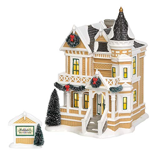 Department 56 Original Snow Village Queen Anne Revival Bed and Breakfast Lit Building and Figurine Set, 9.65 Inch, Multicolor